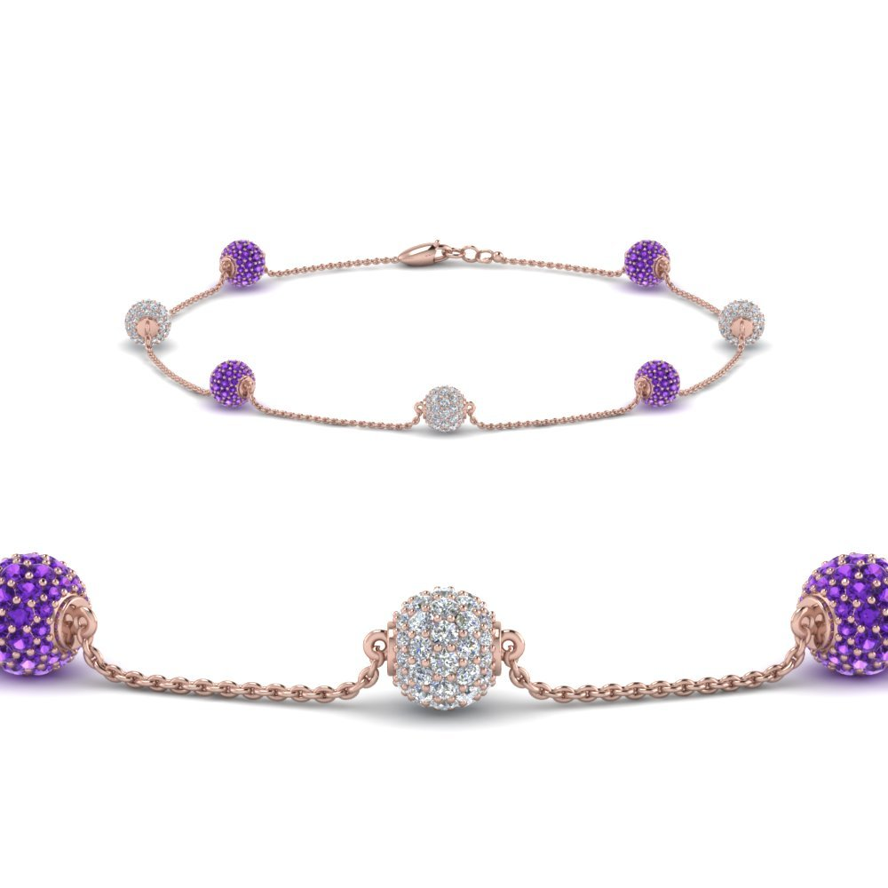 Purple Topaz Pave Ball Diamond Bracelet