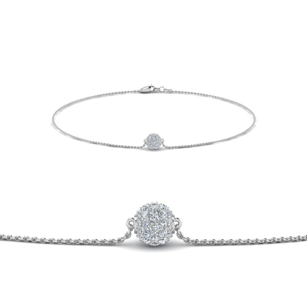 Pave Ball Diamond Chain Bracelet In 18K White Gold