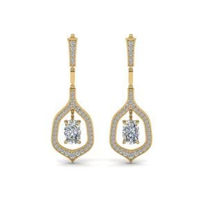 Pave Cushion Diamond Drop Earrings