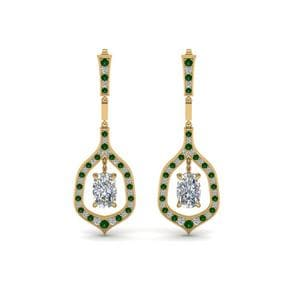 Drop Earring With Emerald
