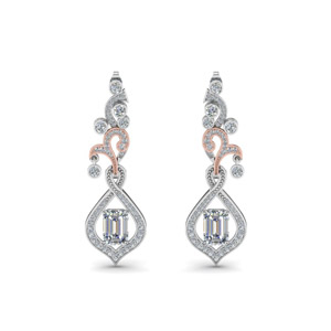 Pave Diamond Dangle Drop Earring In 14K White Gold