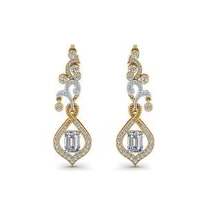 Pave Diamond Dangle Drop Earring In 14K Yellow Gold