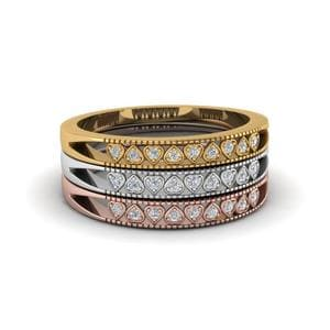 Pave Diamond Gold Stackable Band