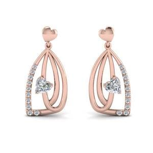 Pave Diamond Heart Drop Earring In 14K Rose Gold