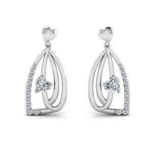 Pave Diamond Heart Drop Earring
