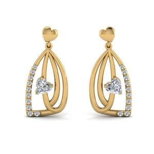 Pave Diamond Heart Drop Earring In 14K Yellow Gold