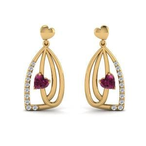Pink Sapphire Pave Drop Earring