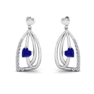 Pave Sapphire Heart Drop Earring