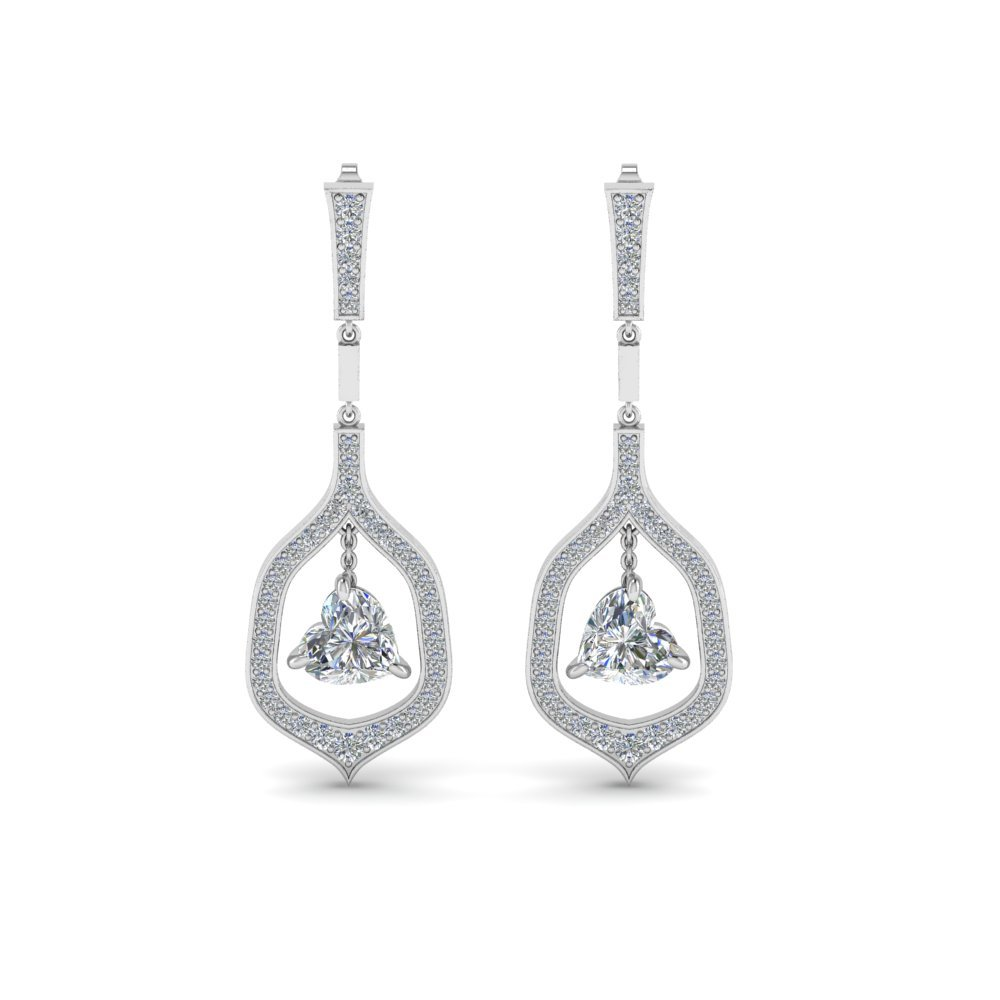Pave Diamond Heart Drop Earrings
