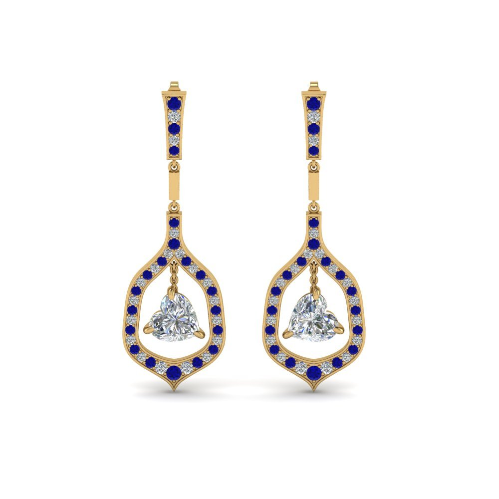 Drop Earrings With Sapphire