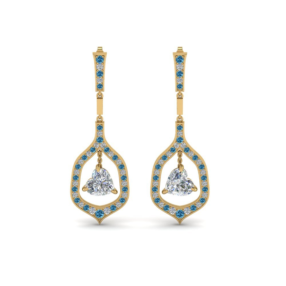 Heart Drop Earrings With Topaz