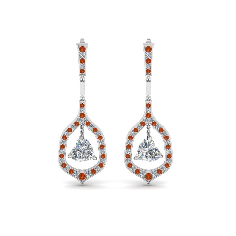 Platinum Orange Sapphire Earrings