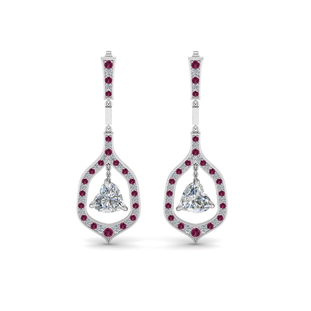 Pink Sapphire Heart Diamond Earrings
