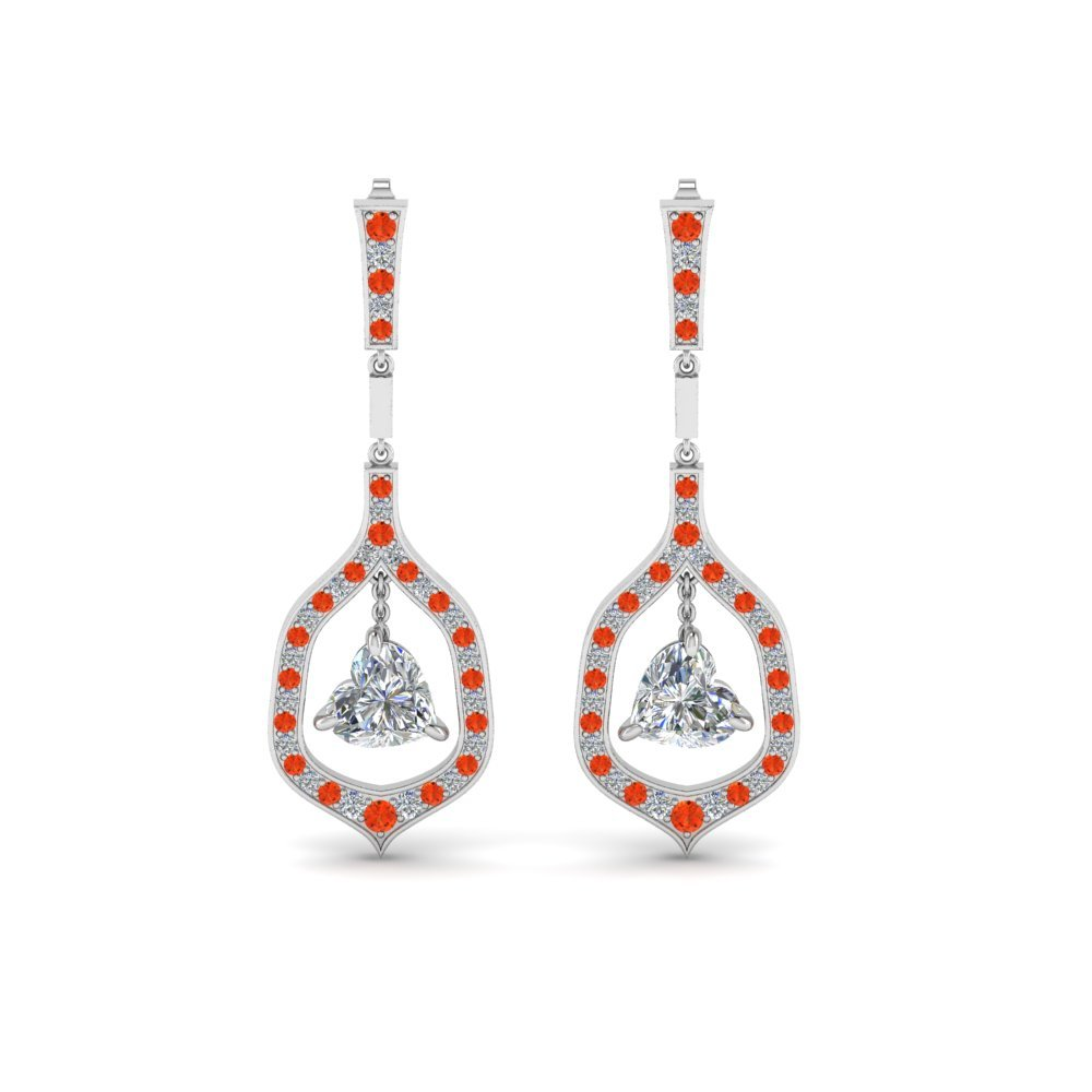 Orange Topaz Heart Drop Earrings
