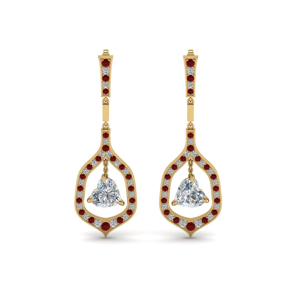 Ruby Heart Diamond Hanging Drop Earrings