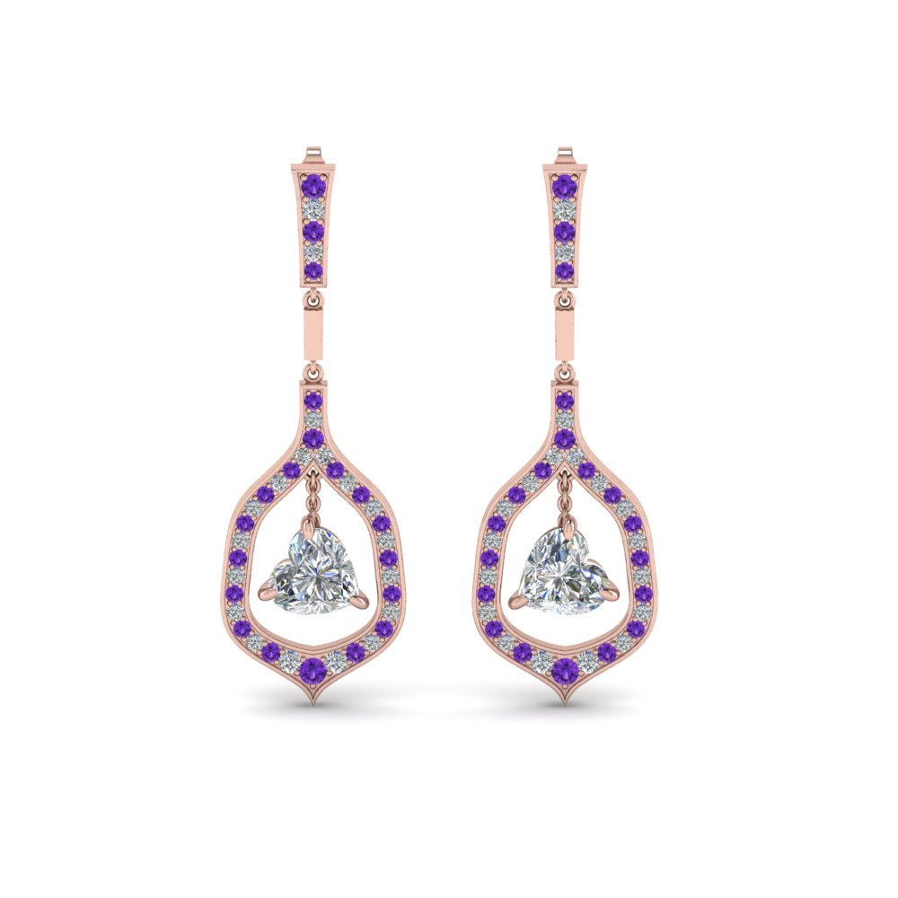 Purple Topaz Diamond Earrings