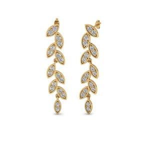 Pave Diamond Leaf Drop Earring In 14K Yellow Gold