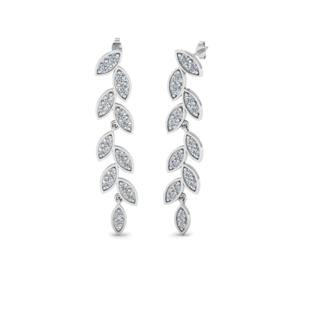 Pave Diamond Leaf Drop Earring In 950 Platinum