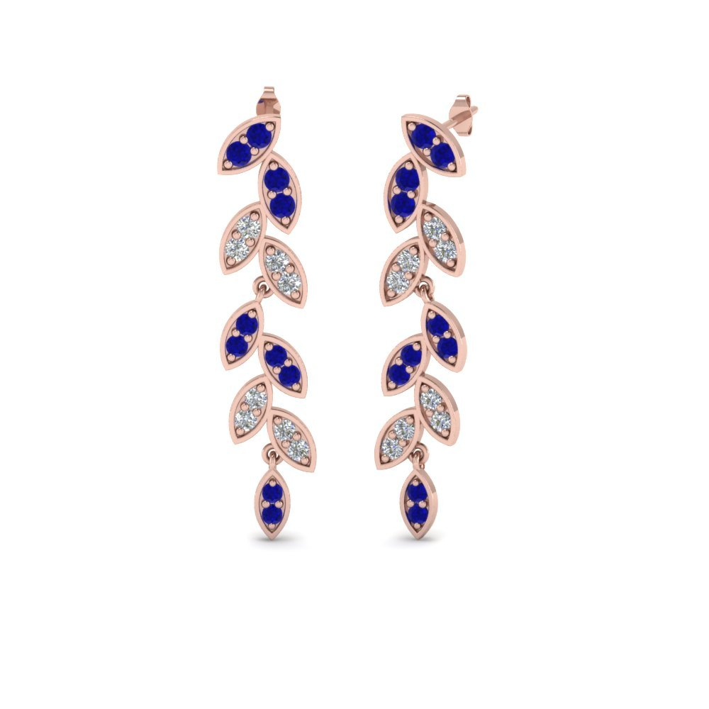 Pave Diamond Leaf Drop Earring With Blue Sapphire In 14K Rose Gold