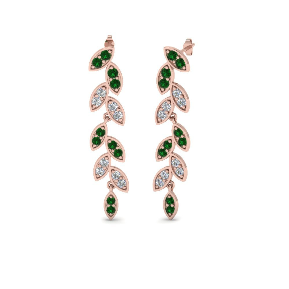 Pave Diamond Leaf Drop Earring With Emerald In 14K Rose Gold