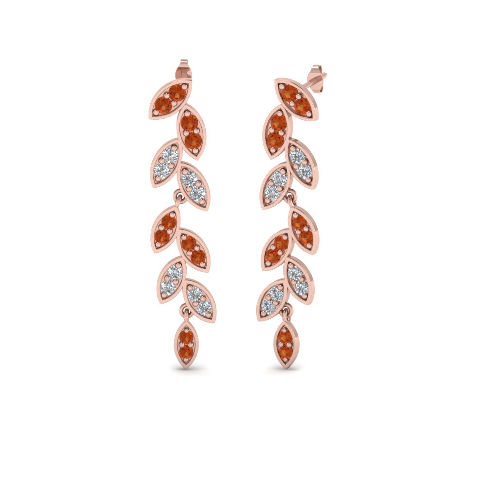 Pave Diamond Leaf Drop Earring With Orange Sapphire In 14K Rose Gold