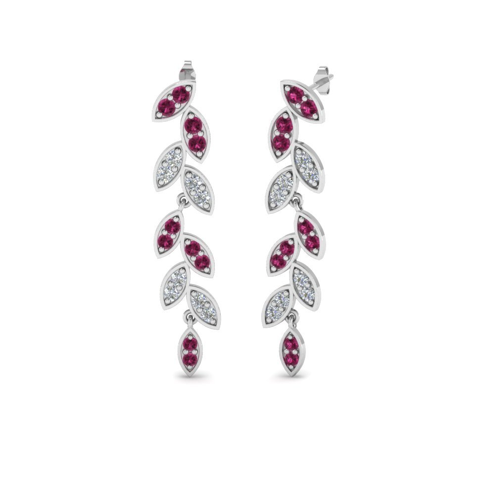 Pave Diamond Leaf Drop Earring With Pink Sapphire In 14K White Gold