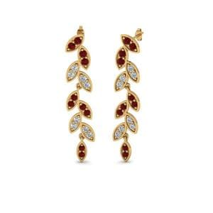 Pave Diamond Leaf Drop Earring