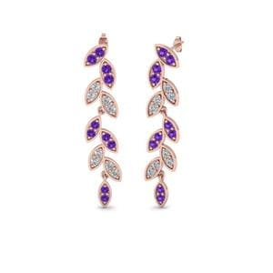 Purple Topaz Leaf Drop Earring