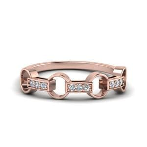 Pave Diamond Linked Wedding Gift For Her In 14K Rose Gold