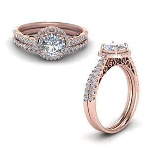 Pave Halo Diamond Vintage Bridal Set In 14K Rose Gold