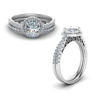 Pave Halo Diamond Vintage Bridal Set In 14K White Gold