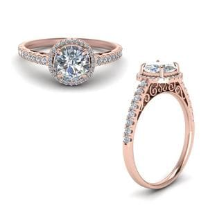Pave Halo Diamond Vintage Engagement Ring In 14K Rose Gold