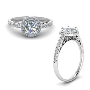 Pave Halo Diamond Vintage Engagement Ring In 14K White Gold