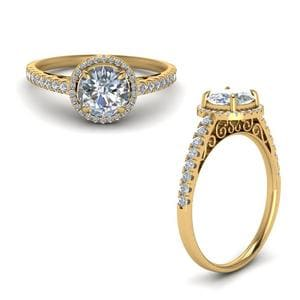 Pave Halo Diamond Vintage Engagement Ring In 14K Yellow Gold