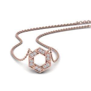 Pave Hexagon Diamond Pendant In 14K Rose Gold