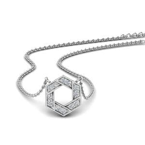 Pave Hexagon Diamond Pendant In 14K White Gold