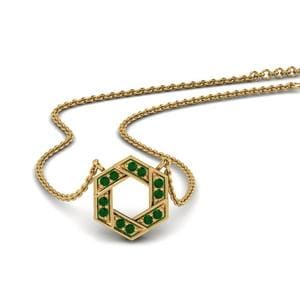 Pave Hexagon Emerald Pendant In 14K Yellow Gold