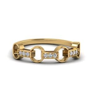 Pave Linked Diamond Band In 14K Yellow Gold