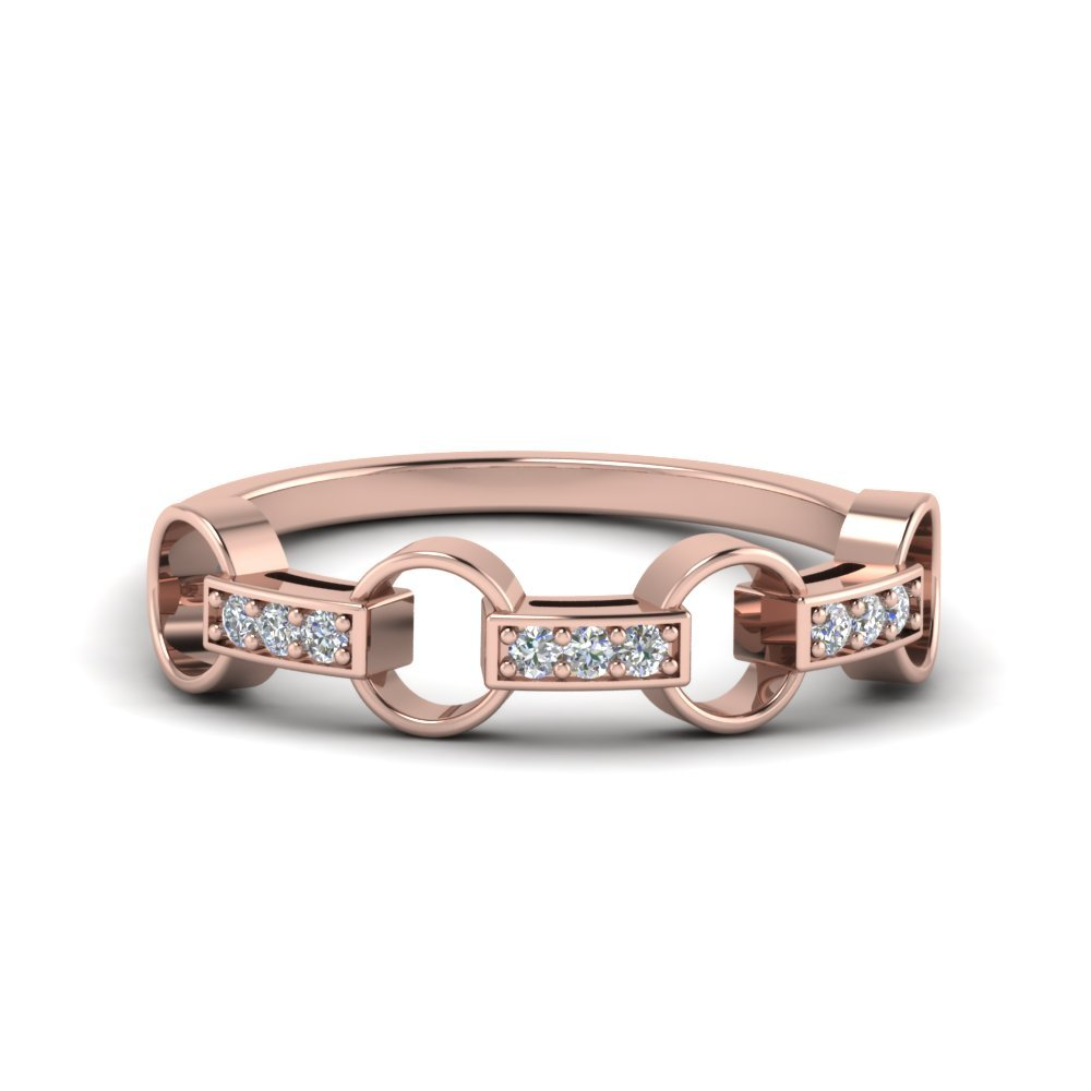 Pave Linked Diamond Band In 18K Rose Gold