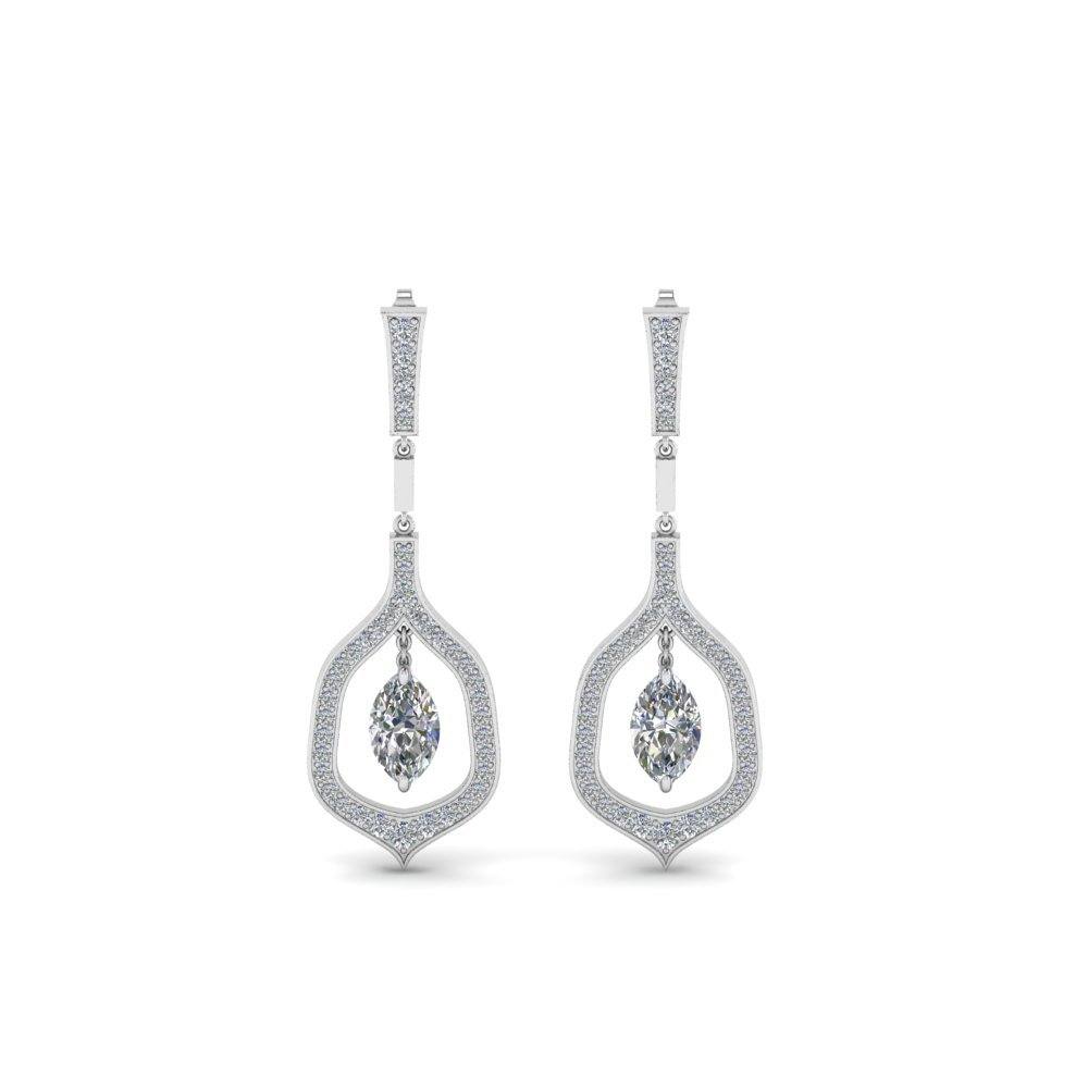Pave Marquise Diamond Drop Earring In 14K White Gold