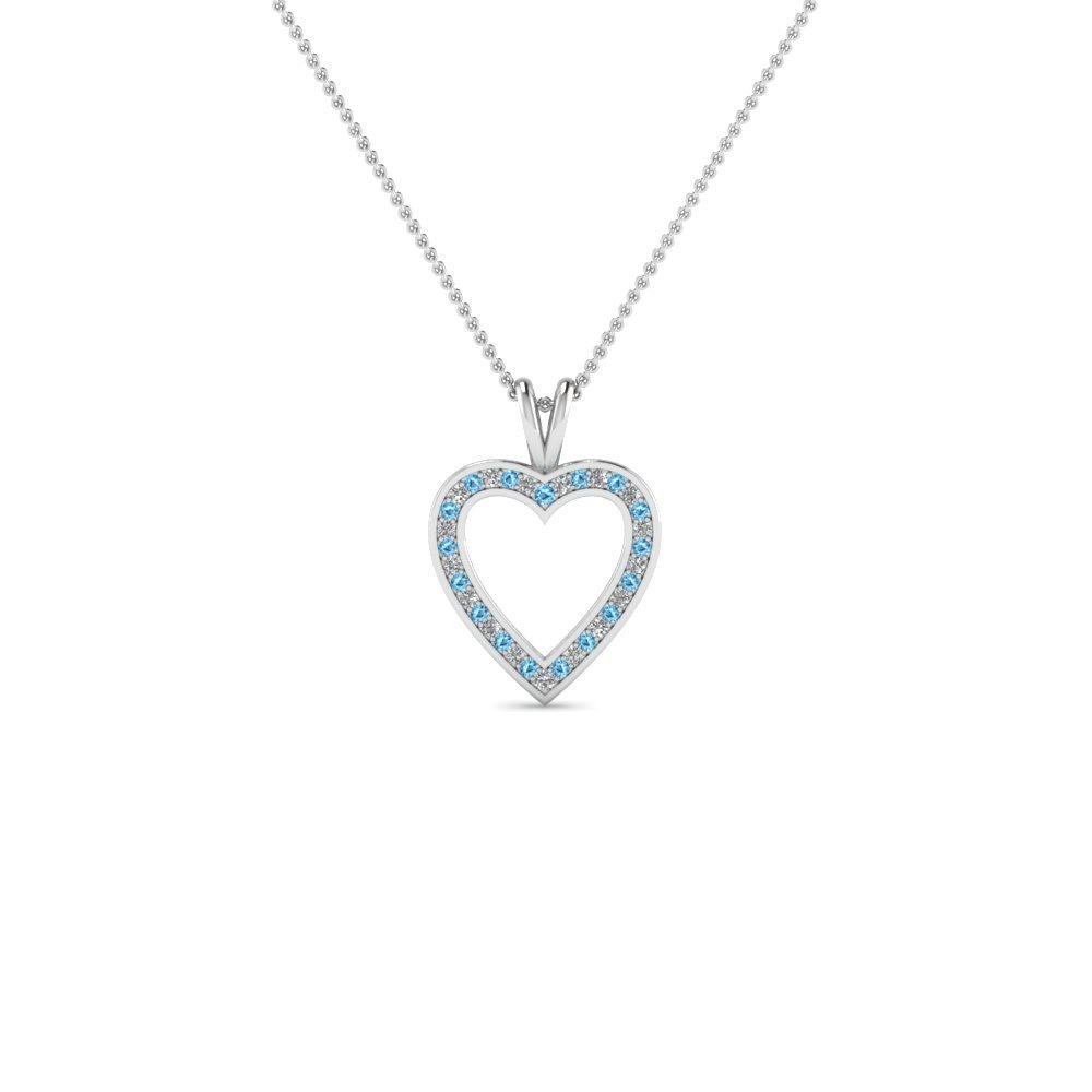 Open Heart Blue Topaz Pendant