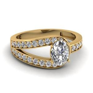 Pave Oval Shape Split Diamond Ring