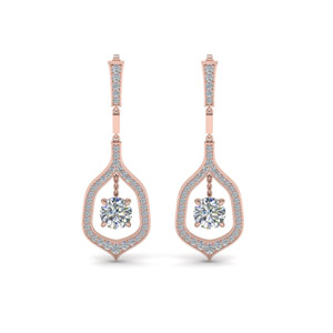 Pave Round Cut Drop Earring