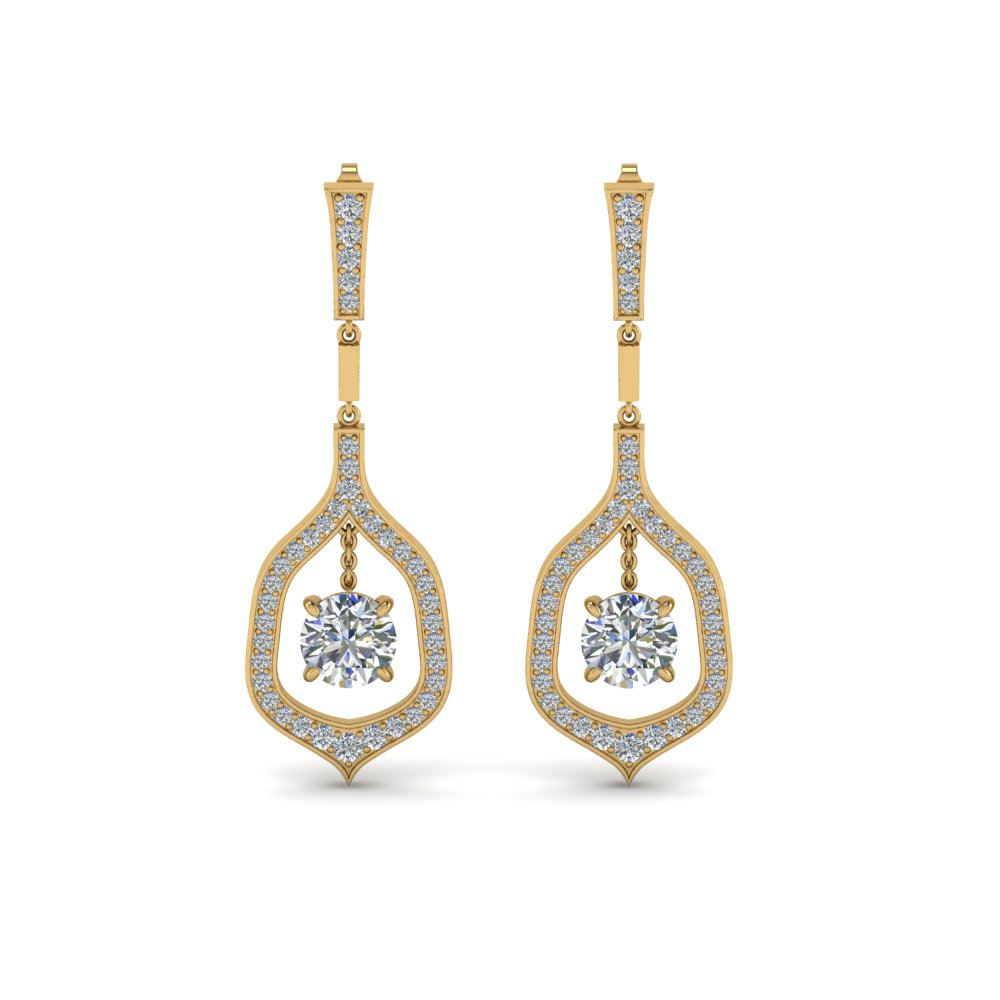 Pave Round Cut Diamond Drop Earring In 14K Yellow Gold