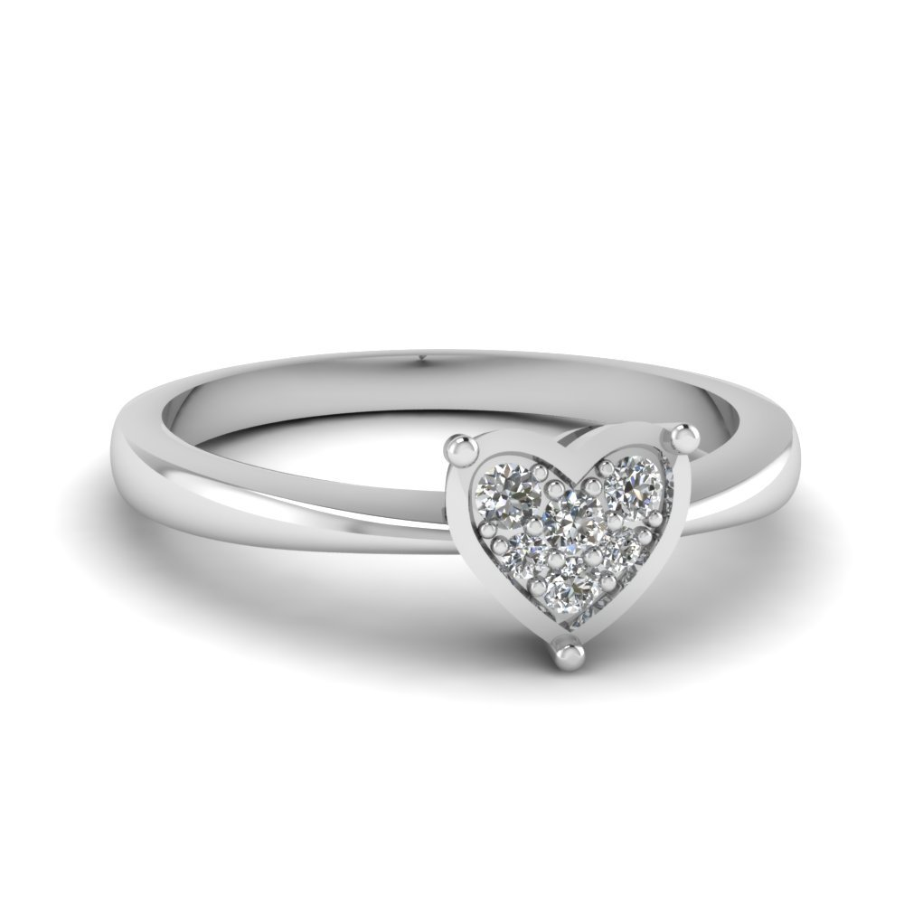 Pave Set Heart Diamond Promise Ring