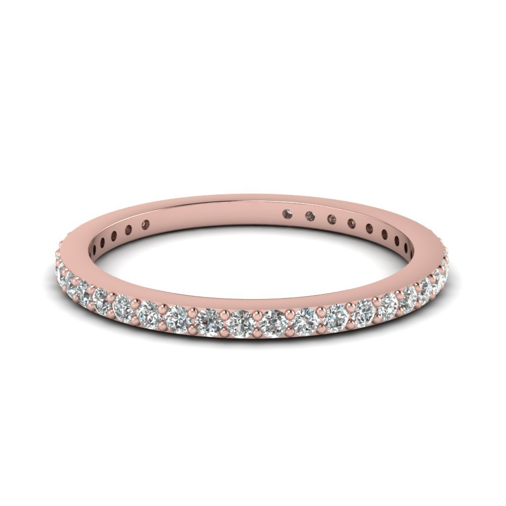 Delicate Diamond Wedding Band In 18K Rose Gold