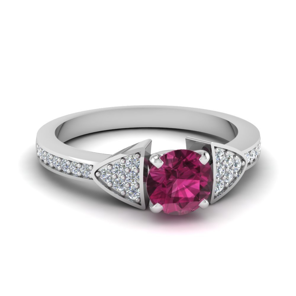 Pave Triangular Diamond Accents And Sapphire Ring
