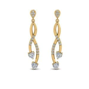 Pave Twist Diamond Heart Drop Earring In 14K Yellow Gold