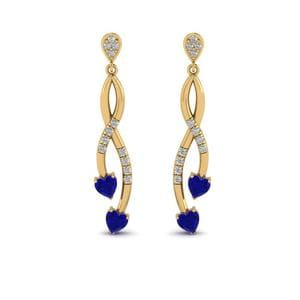 Pave Twist Sapphire Heart Drop Diamond Earring In 14K Yellow Gold
