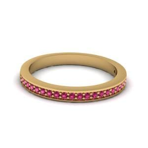 Thin Pave Wedding Band With Pink Sapphire In 14K Yellow Gold